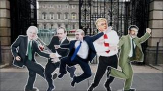 Cut-outs of Irish party leaders