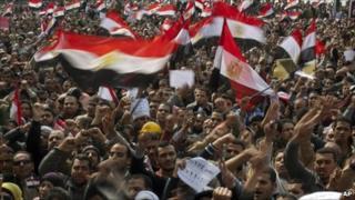 Anti-Mubarak protesters in Tahrir Square. Photo: 8 February 2011