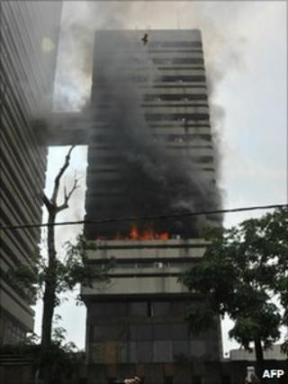 Treasury building on fire