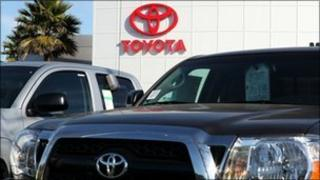Brand new Toyota trucks are displayed on the sales lot at Toyota Marin on January 26, 2011