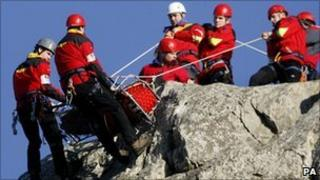 Mountain rescue teams practising