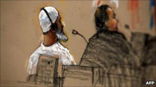 A courtroom illustration from Guantanamo Bay