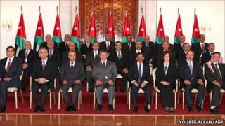 King Abdullah with the new Jordanian cabinet in Amman, 9 February (Jordanian Royal Palace handout)