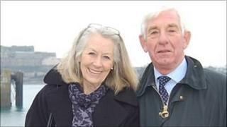 Sir Fabian and Lady Malbon return from their final official visit to Sark