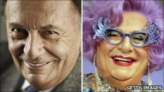 Barry Humphries as himself and as Dame Edna Everage