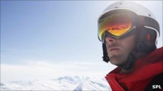 A skier wearing a helmet