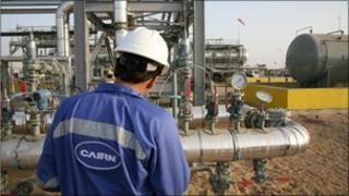 Man at oil installation