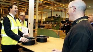Chancellor George Osborne at the Wrexham JCB transmission plant