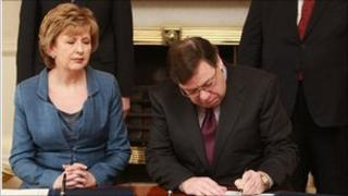 Irish President Mary McAleese and PM Brian Cowen