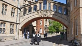 Oxford University students on the way to their graduation ceremony
