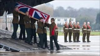 MoD handout photo of the (1 R IRISH) at RAF Lyneham, Wiltshire.