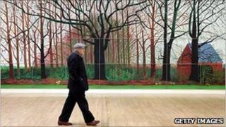 David Hockney in front of Bigger Trees Near Warter