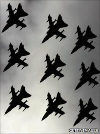 Tornado jets flying in formation