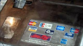A false front used by a card 'skimming' gang to steal details from cards used in ATMs
