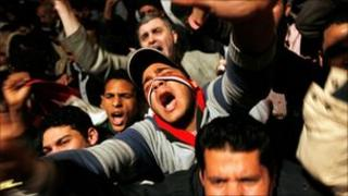 Anti-government protesters in Egypt