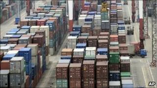 Shipping containers waiting to be exported from Shanghai