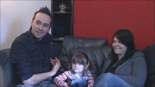Gareth Pritchard and Kalli Buchan and daughter Amelia