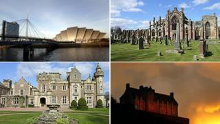 Clockwise from top left; Glasgow's Armadillo, Melrose Abbey, Abbotsford and Edinburgh Castle