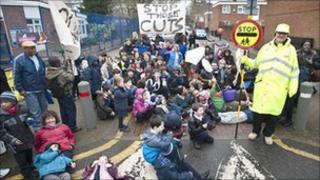 The sit-down protest in Herne Hill