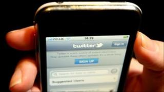 twitter page on phone