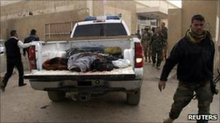 Victims of the Samarra attack taken to Samarra hospital morgue - 12 February 2011