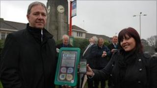 Derek Greene of Connecthings with Borough of Poole representative showing new technology