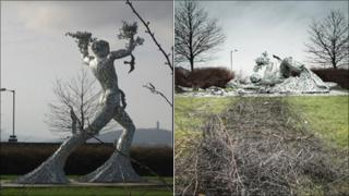 Striding man as it was and after crash