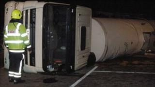 The overturned tanker