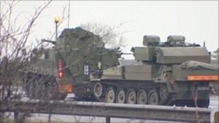 Scimitar reconnaissance vehicle on A1