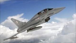 RAF Typhoon fighter jet in flight