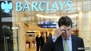 Bob Diamond outside Barclays in Canary Wharf