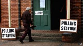 Man enters polling station