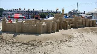 Windsor Castle recreated in sand on Weymouth beach in June 2009, by sculptor Mark Anderson.