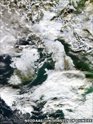 Satellite image of snow over the UK
