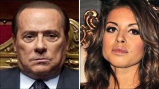 Italian Prime Minister Silvio Berlusconi and Karima el Mahroug (file pic)
