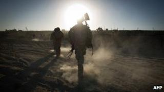 A file photo of a US soldier in Afghanistan
