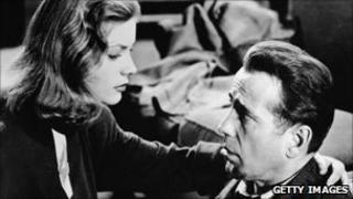 Humphrey Bogart with Lauren Bacall in the 1940s film of Raymond Chandler's The Big Sleep