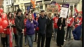Protesters in Warwickshire