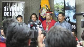 Members of Ecuador's Amazon communities meet in Quito to discuss the Chevron verdict on Tuesday