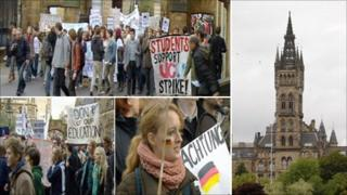 Protest march at Glasgow University