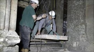 Repairing the grand staircase at Raglan Castle