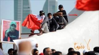 Bahraini protesters in Manama's Pearl Square, 16 February