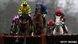 Spider Boy winning the ladbrokes.com hurdles race at Folkestone