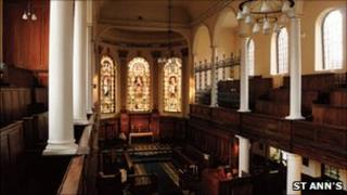 The interior of St Ann's Church in Manchester