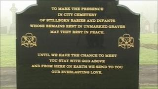 Memorial to stillborn babies buried in unmarked graves