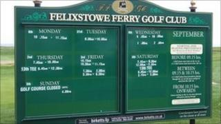 Felixstowe Ferry Golf Club scoreboard