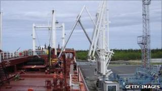 Oil tanker filling up at the Rosneft Arctic port facility at Arkhangelsk