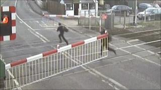 Youths caught on camera at crossing