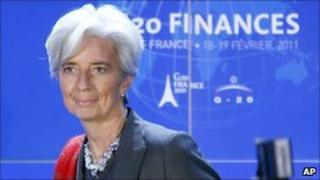 France's Finance Minister Christine Lagarde answers reporters questions during the press conference ending the G20 Finance summit at Bercy Finance Ministry in Paris, Saturday, Feb. 19, 2011