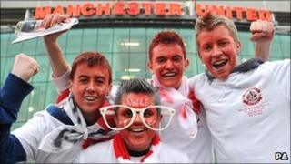 Young Crawley fans outside Old Trafford